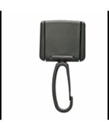 Attacco porta badge con moschettone rotante